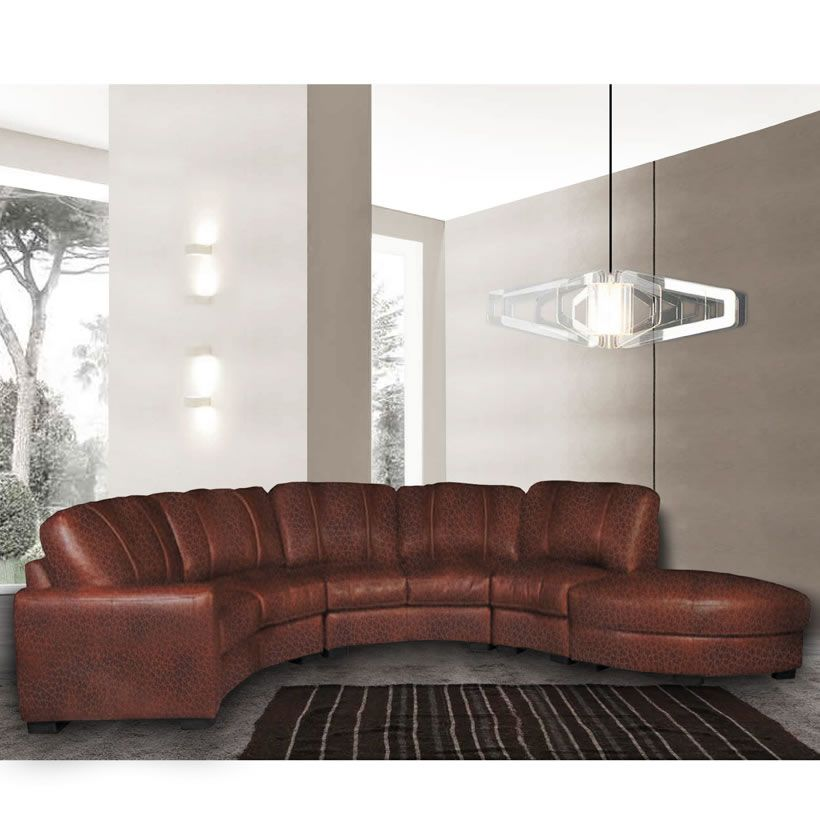 Jonathan Sectional - Curved Sectional Sofa in Chestnut Leather ...