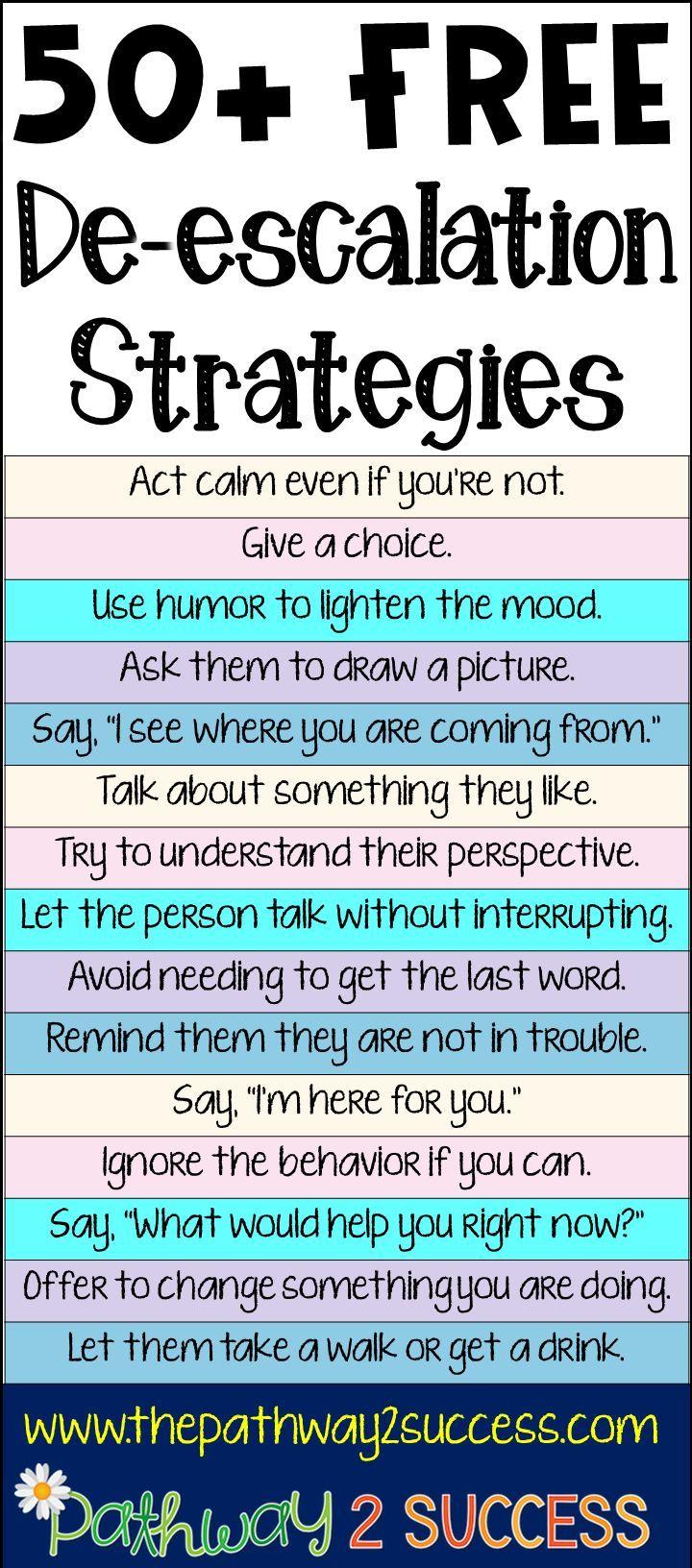 50+ De-escalation Strategies   Preschool & Elementary Special ...