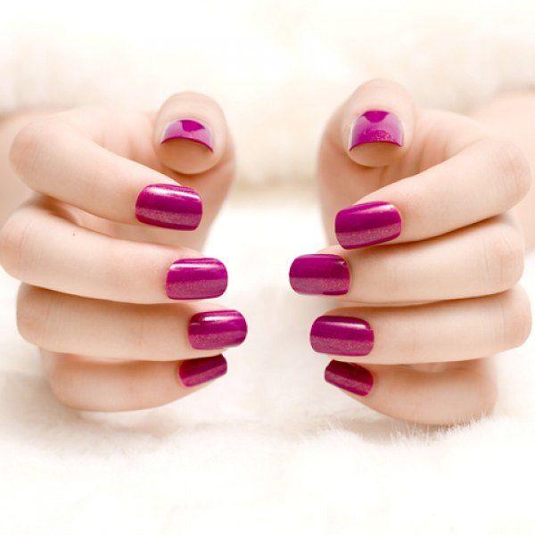 24 PCS Chic Glitter Powder Purple Nail Art False Nails