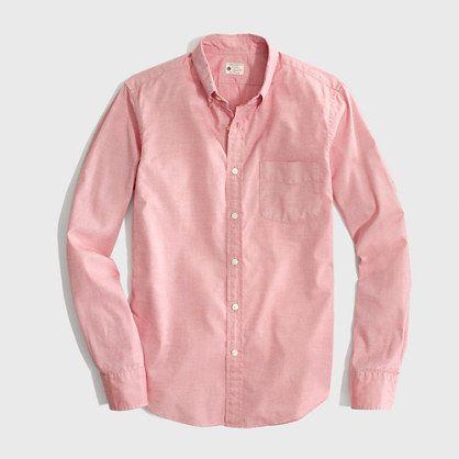 <ul><li>Cotton oxford.</li><li>Slim fit, cut more narrowly through the body and sleeves.</li><li>Button-down collar.</li><li>Machine wash.</li><li>Online exclusive.</li><li>Import.</li></ul>