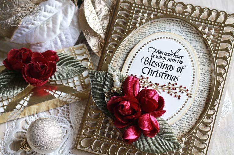 Large Card Making Ideas Part - 36: Christmas Card Making Ideas By Becca Feeken Using Spellbinders Bella Rose  Layering Frame Large And Spellbinders