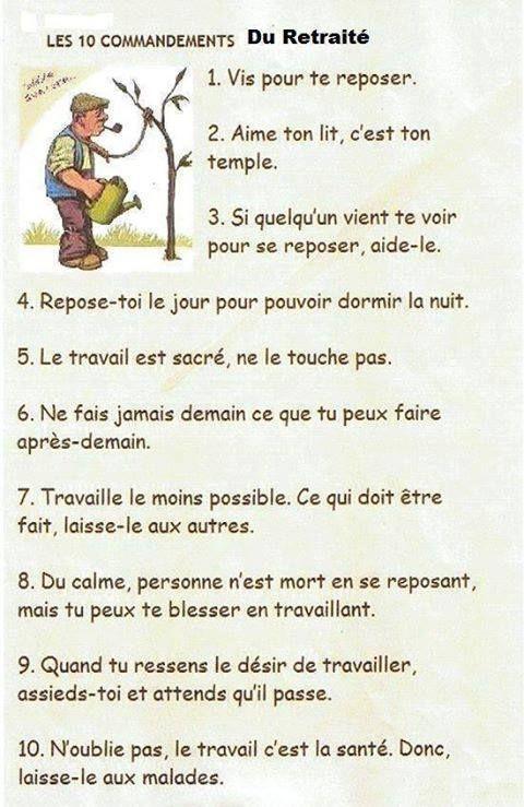 Les 10 Commandements Du Retraité Mdr Humour Retraite