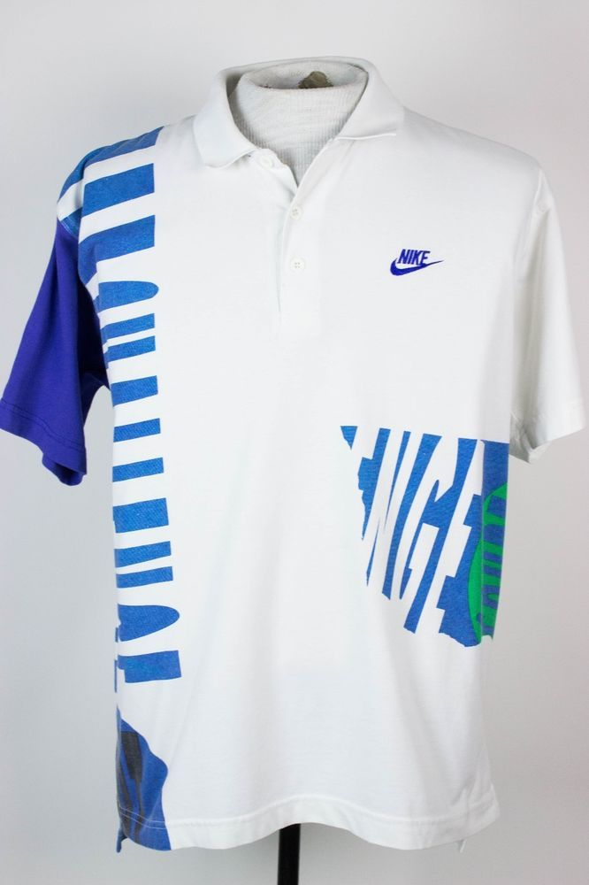 Vintage Nike Challenge Court Polo Shirt Agassi 90s Air Tech Challenge  Tennis ATC