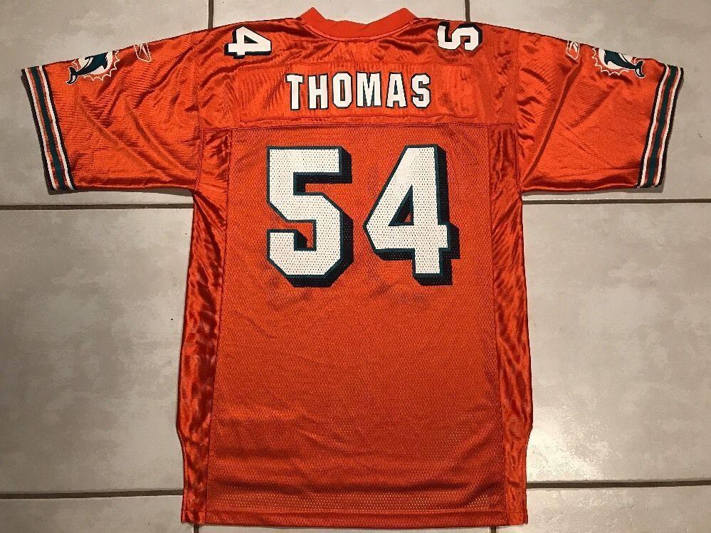 969bedb2d Rare Vintage REEBOK Miami Dolphins Zach Thomas ORANGE NFL Jersey Men s  Medium