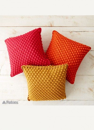 Bobble-licious Pillows - Patterns   Yarnspirations - The texture on these crochet pillows is divine!