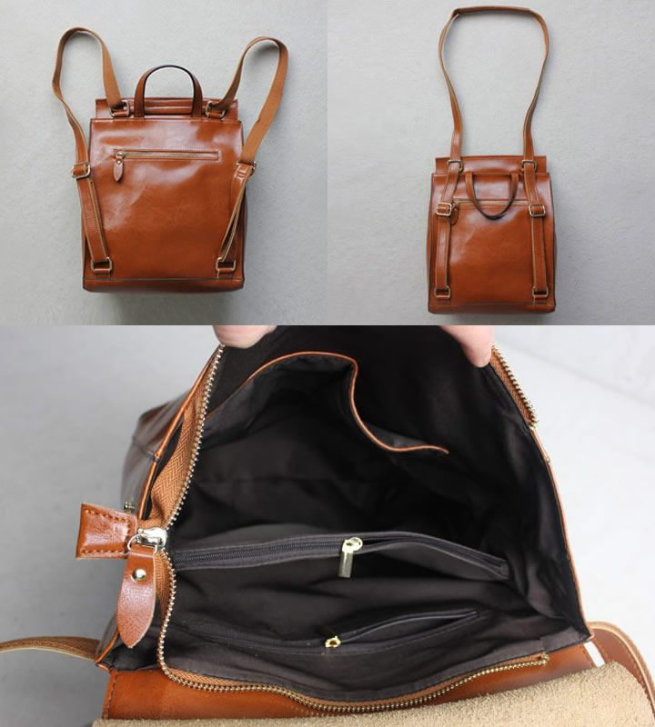 ce2a8e2b48ae Women s Handmade Leather Backpack   Day Pack   Leather Satchel  B02 -  Thumbnail 2