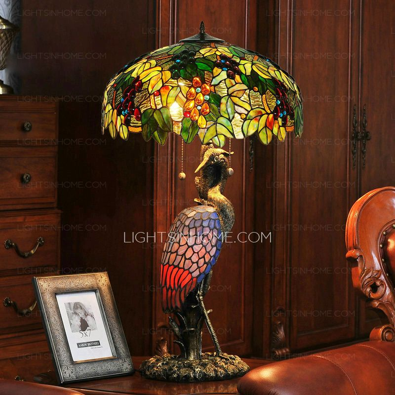 Lovely High End Pull Chain Stained Glass Tiffany Peacock Lamp
