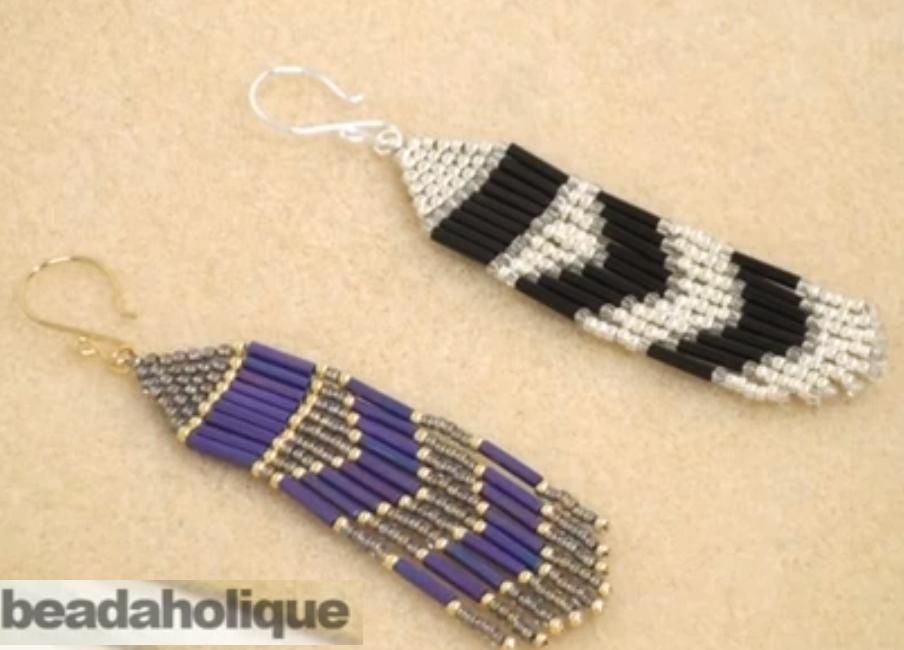 How To Make Brick Sch And Fringe Beaded Earrings Seed