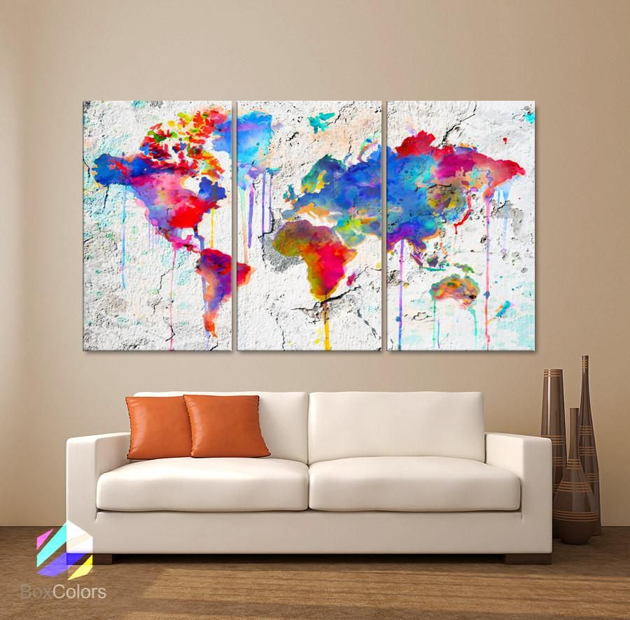 Large 30x60 3panels art canvas print map world watercolor abstract decor home