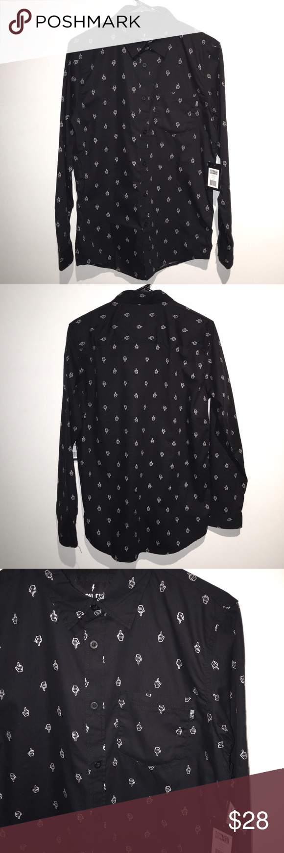 IRON FIST GFY Black L/S Button Up Shirt This shirt is a carefree take on the classic long sleeve button up with little middle fingers tiled all over the material perfect to throw on any day you are feeling a bit rebellious. This shirt has a left chest pocket with a small IRON FIST tag on the pocket and is brand new with original tags and no defects. 100% Cotton; Cold wash separately; hang dry. Made in China 🇨🇳 Iron Fist Shirts Casual Button Down Shirts