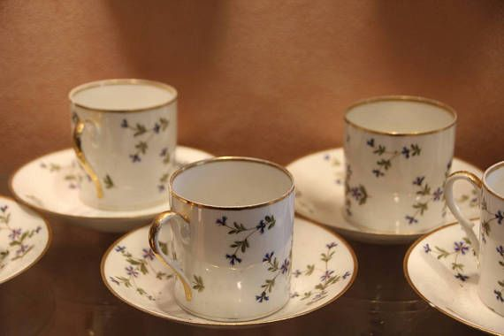 French Antique Limoges Porcelain Coffee Cups And Saucers 7 Available Marie Antoinette Pattern
