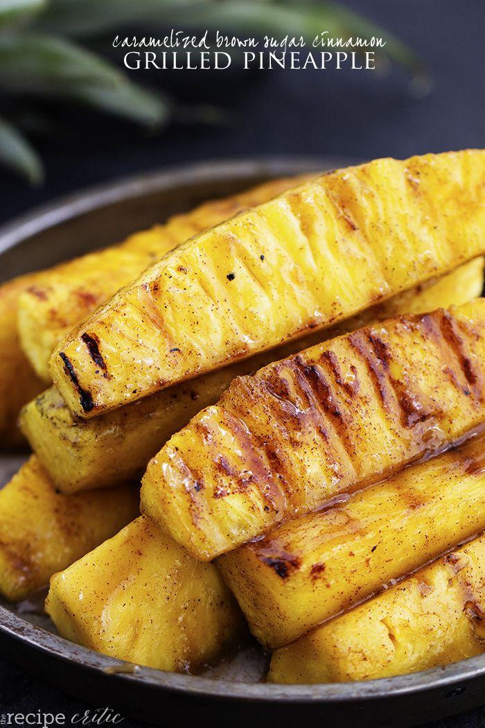 Caramelized brown sugar cinnamon grilled pineapple.