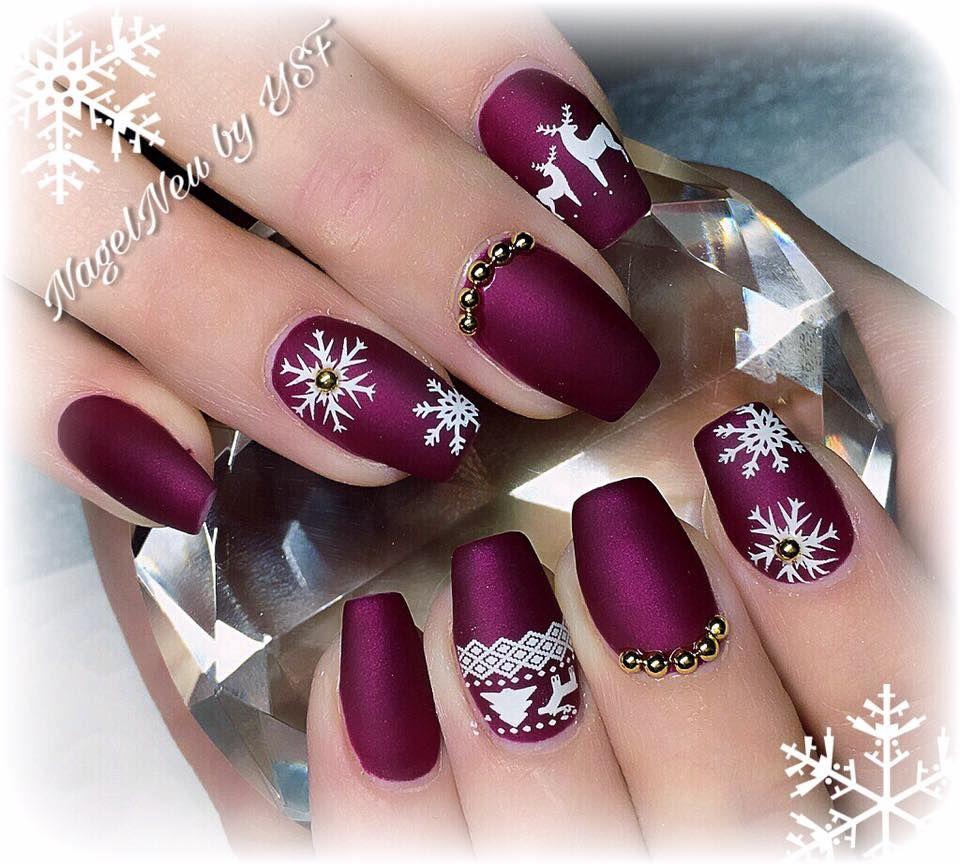 Purple Winter Matte Nails Christmas Nail Art Design Ideas De