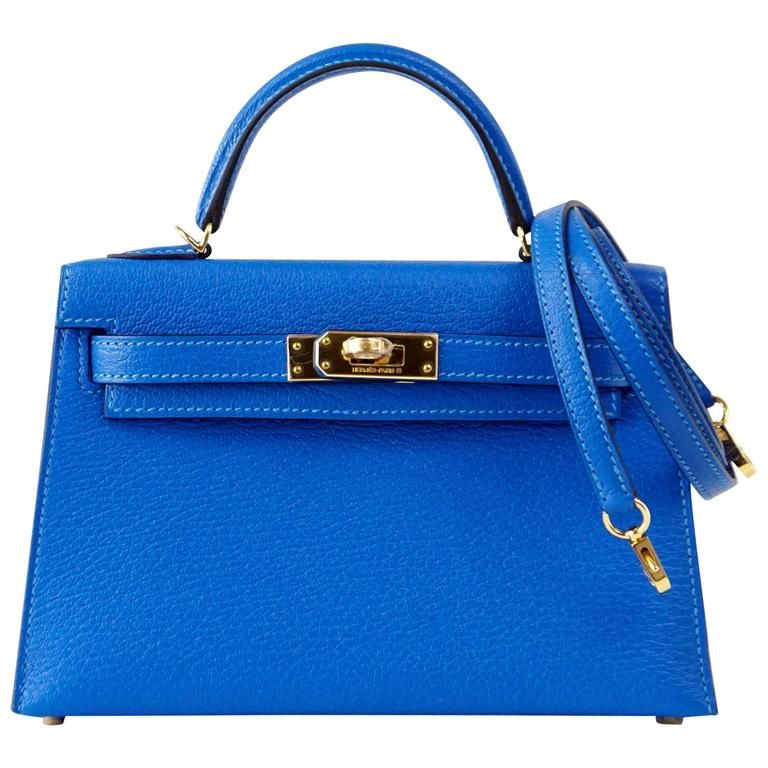 0566ecb28af4 HERMES KELLY Bag 20 cm Rare Limited Edition Mini Kelly II Blue Hydra Chevre