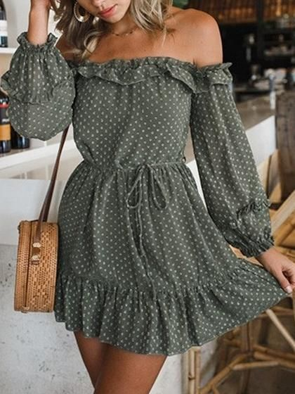 Green Chiffon Off Shoulder Polka Dot Puff Sleeve Chic Women Mini Dress #summerdresses