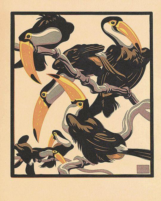 Nobertine von Bresslern-Roth, Pfefferfresser / Toucans, 1925-1930. Linocut. Austria. Source Design is fine. History is mine.