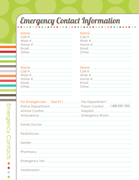 Free Printable Emergency Contact Information Sheet To Have