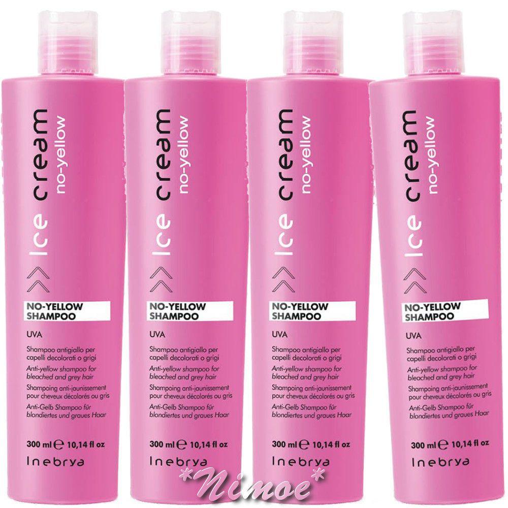 No-Yellow Shampoo 4 x 300ml Inebrya Ice Cream ®UVA Antigiallo Bleached Gray  Hair 7172fe71b697