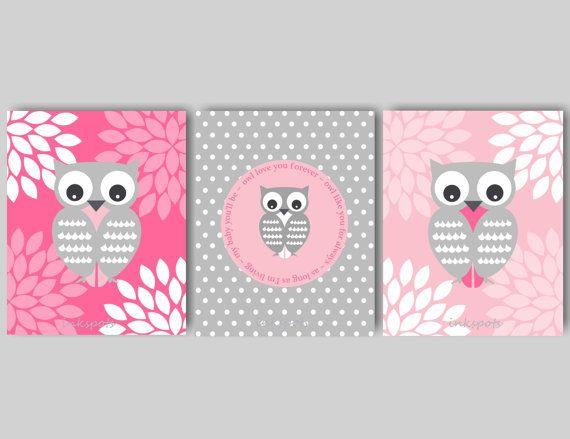 Baby Girl Nursery Art Owl Nursery Bedding Decor Woodland Nursery Art Owl Nursery Art Love You Forever CHOOSE COLORS Print Collection OW1511