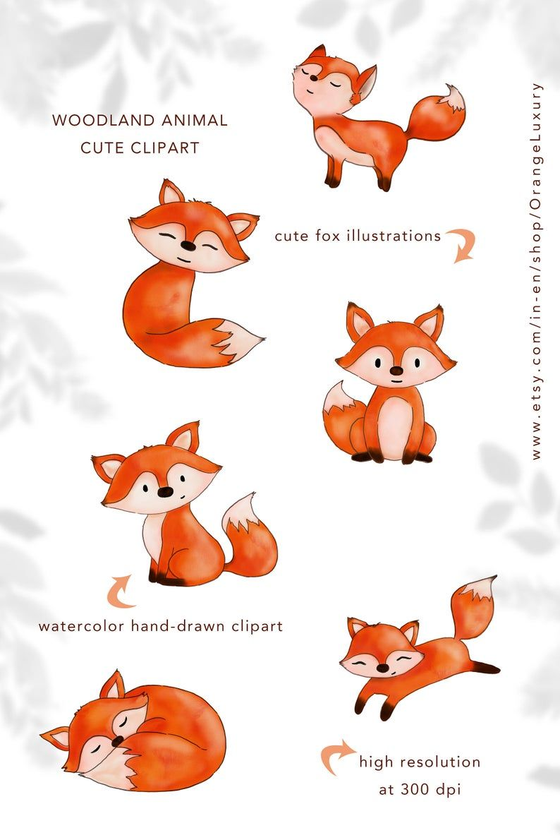 Watercolor Fox Clipart Instant Download Watercolor Clipart Etsy In 2021 Watercolor Fox Cute Fox Drawing Fox Drawing Easy