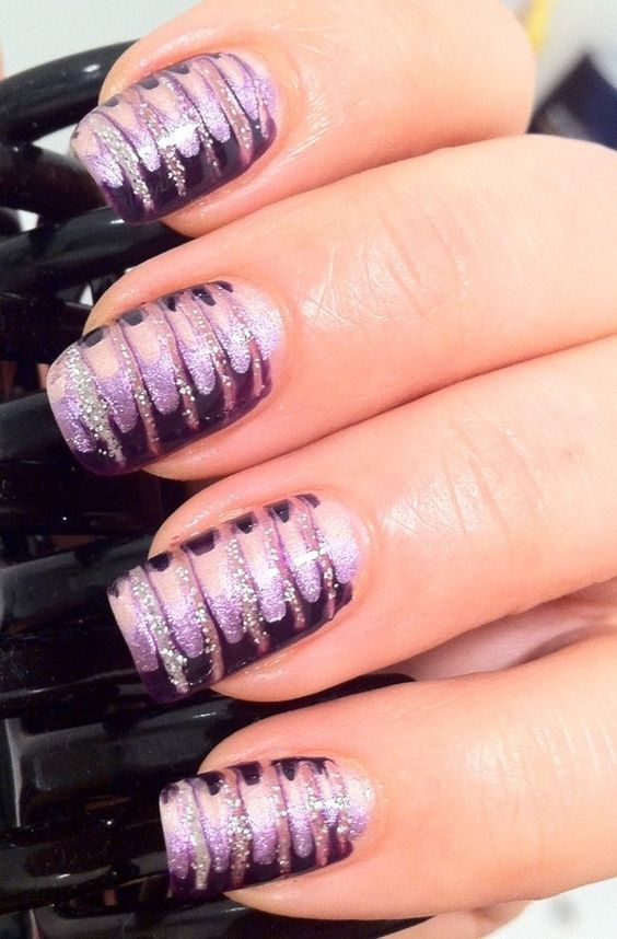 Using A Needle I Drag Marbled The Design 4 Shades Of Purple Nail