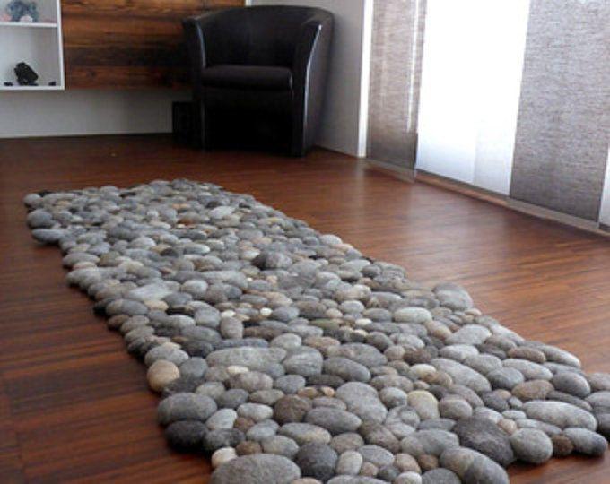 Felt Carpet Supersoft Pebbles Felt Stone Carpet Wool From Sheep Lama Stone Rug Rugs Decor