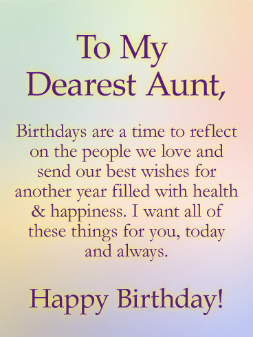 Sending Wishes Happy Birthday Card For Aunt When A Special Aunts