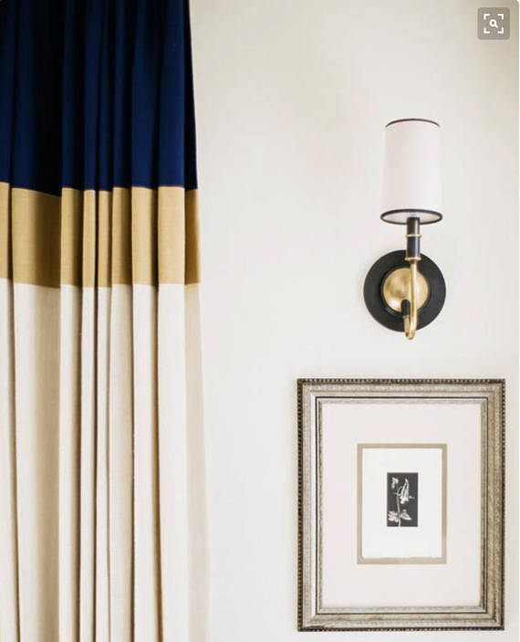 Color Block Curtains In Navy Gold And Off White Linen This Listing Is For One Panel 50 Wide Lined W Curtains Living Room Color Block Curtains Curtains Living