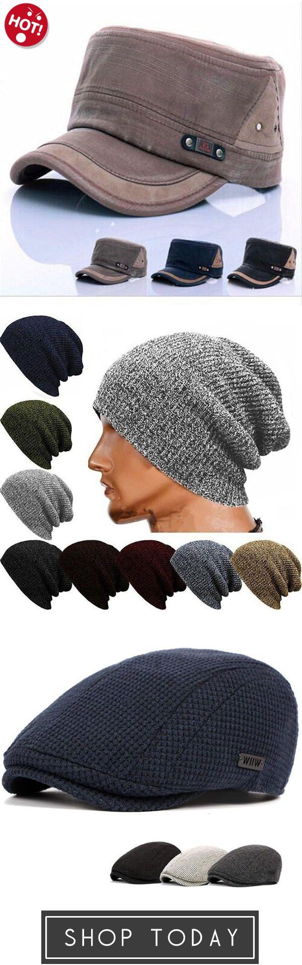 9fc5a5303dab80 Winter Casual Cotton Knit Cap Baggy Beanie Crochet Cap Outdoor Ski Cap,Vintage  Army Plain Flat Cadet Hat,Mens Cotton Gatsby Beret Cap Golf Flat Cabbie Hat