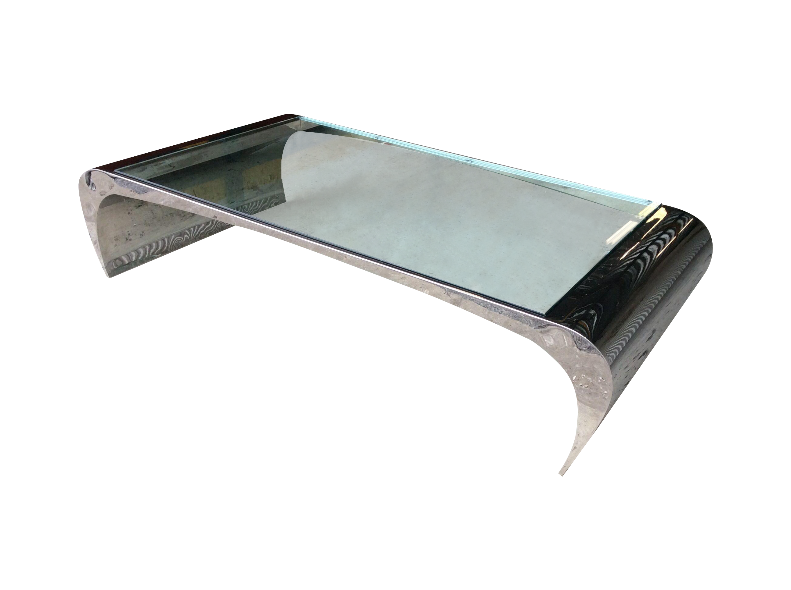 Leon Rosen For Pace Chrome Waterfall Coffee Table