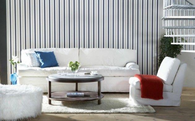 Wohnzimmer Tapeten Ideen Streifenmuster Weiße Wohnzimmermöbel