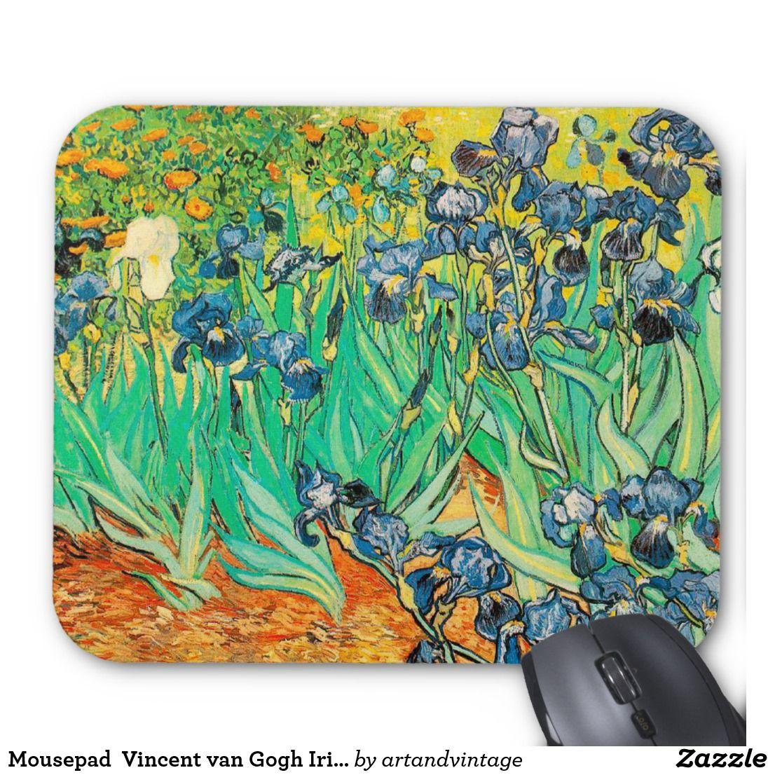 Mousepad vincent van gogh irises blue flower art van