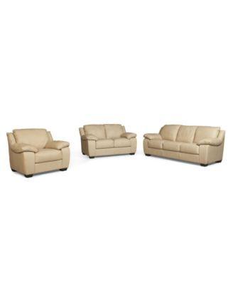 Blair 3-Piece Leather Sofa Set: Sofa, Love Seat and Chair   macys ...