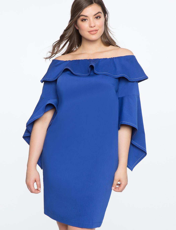 flounce sleeve off the shoulder dress cobalt | lady