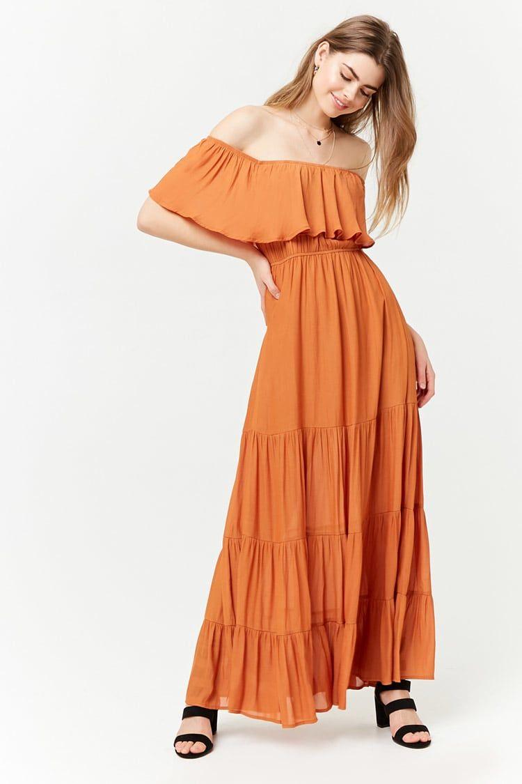 f7c1abde33 Vestido Largo Hombros Descubiertos - Mujer - Vestidos - 2000261347 - Forever  21 EU Español