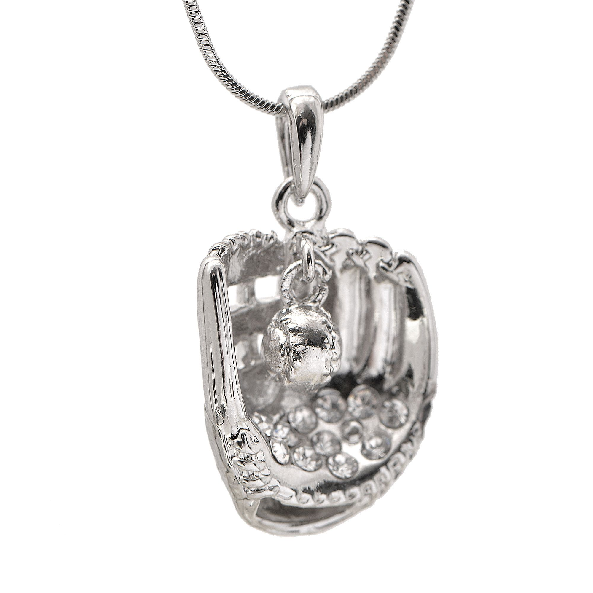 glove enthusiast to accent or is softball catch crystal and well for any this fun wear with crafted plated necklace ball the perfect pin silver hanging baseball