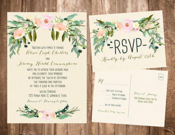 Spring bohemian wedding invitations blush ivory printable or set of 25