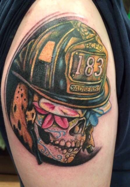 Sugar Skull Firefighter Tattoo By Gilbert Gilbert