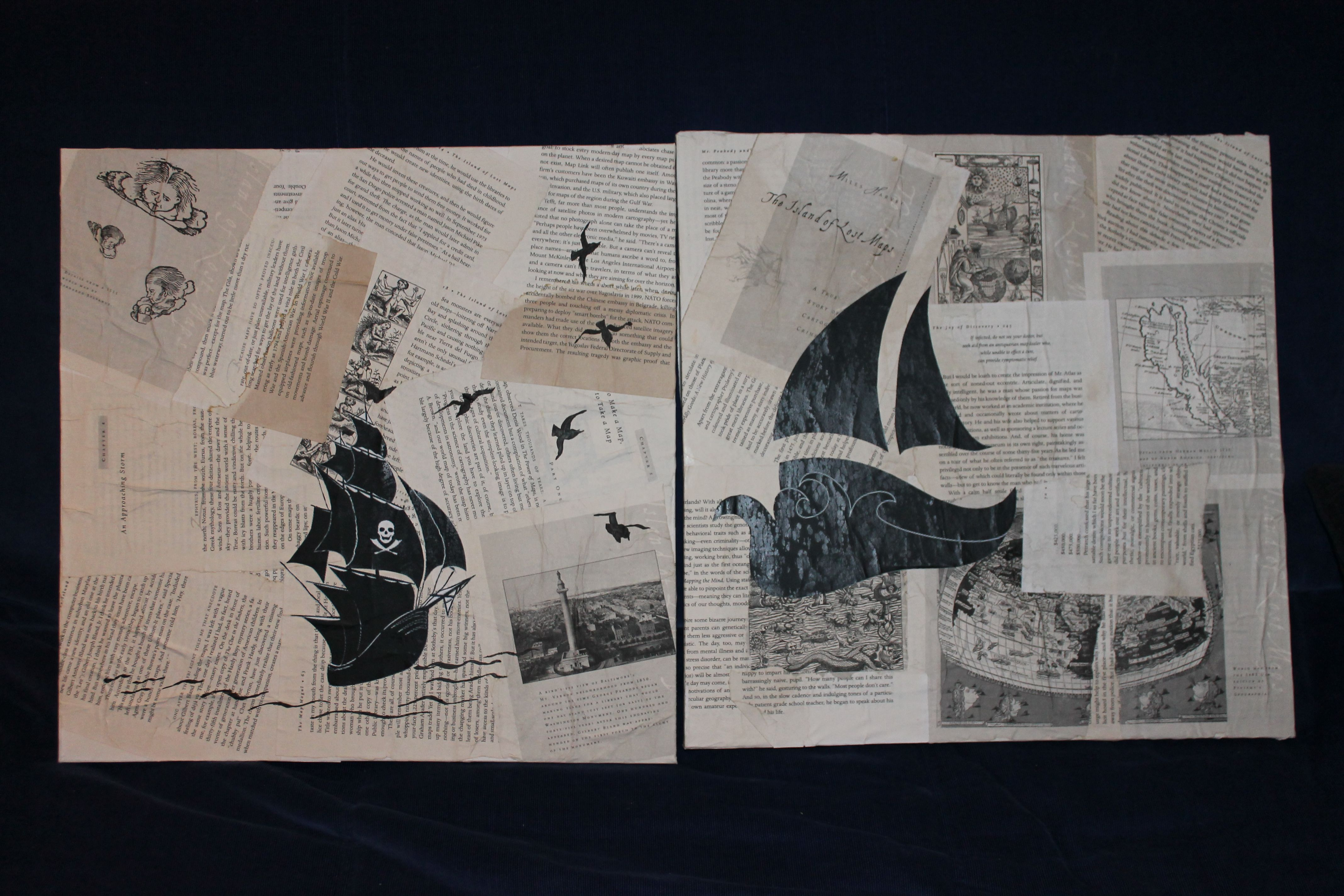 Two Canvases, Covered In Tea Stained Pages From An Old