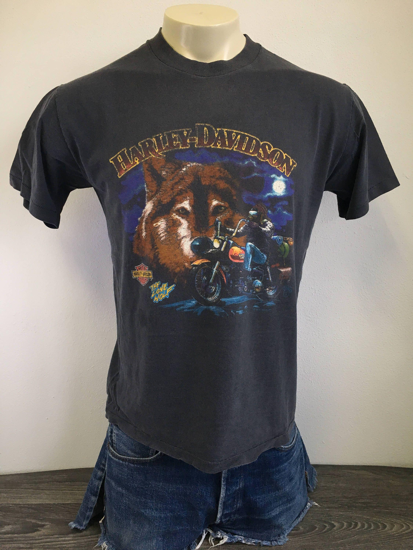 Harley Davidson Shirt 1988 Vintage 80s Lone Wolf Tshirt Holoubek Black Motorcycle Biker Usa Fashion Cycles Hd Cot Wolf T Shirt Harley Davidson Shirt Wolf Shirt