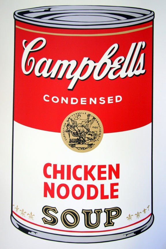 Andy Warhol Campbells Soup Chicken Noodle Serigraph Sunday B. Morning #andywarhol