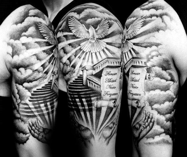 Top 53 Best Heaven Tattoos Ideas 2020 Inspiration Guide Sky Tattoos Half Sleeve Tattoos For Guys Heaven Tattoos