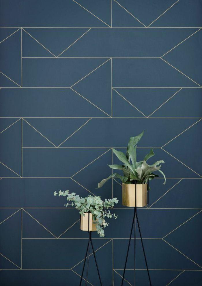 Https Www Fermliving Com Webshop Shop Wallpaper Lines Wallpaper Dark Blue Aspx Https Www C Papier Peint Geometrique Papier Peint Tapisserie Bleu