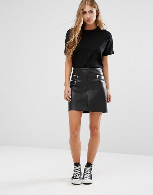 Pimkie | Pimkie Leather Look Zip Detail Mini Skirt | Fashion ...