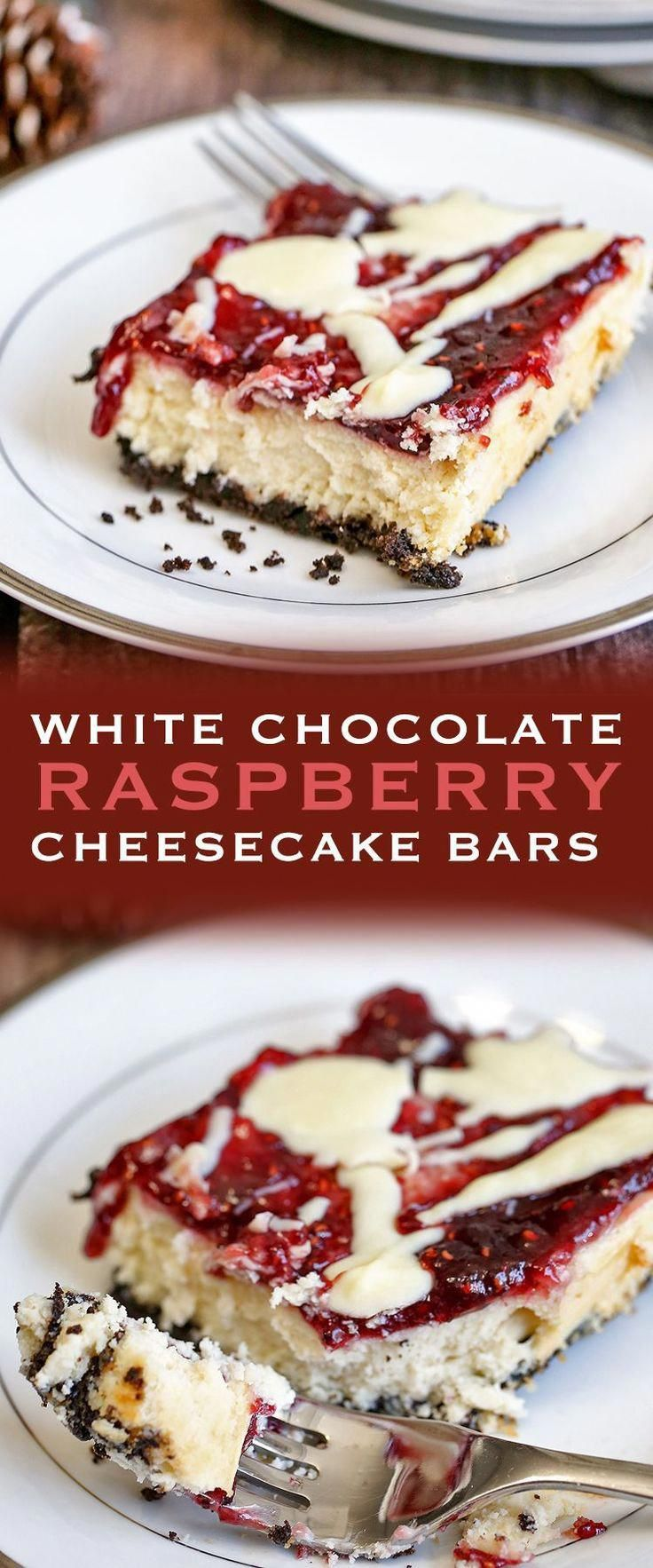 White Chocolate Raspberry Cheesecake Bars are sweet and tangy. The combination of an Oreo crust, white chocolate and raspberry jam is perfection #chocolatecheesecake #whitechocolateraspberrycheesecake