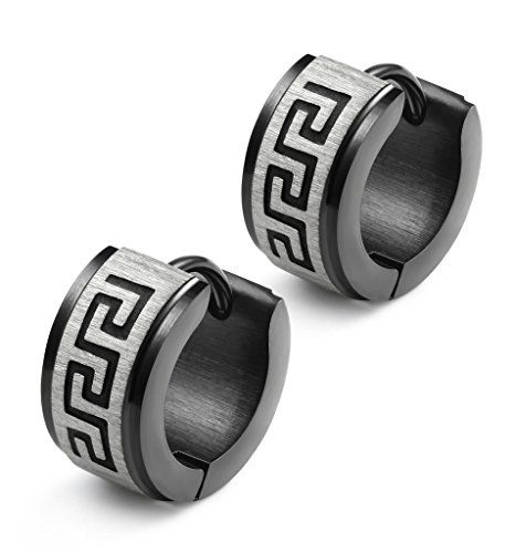 a51b875fc Jstyle Jewelry Stainless Steel Hoop Earrings for Men Women Huggie Earrings  Unique Greek Key Black