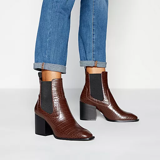 Boots, Block heel ankle boots, Brown