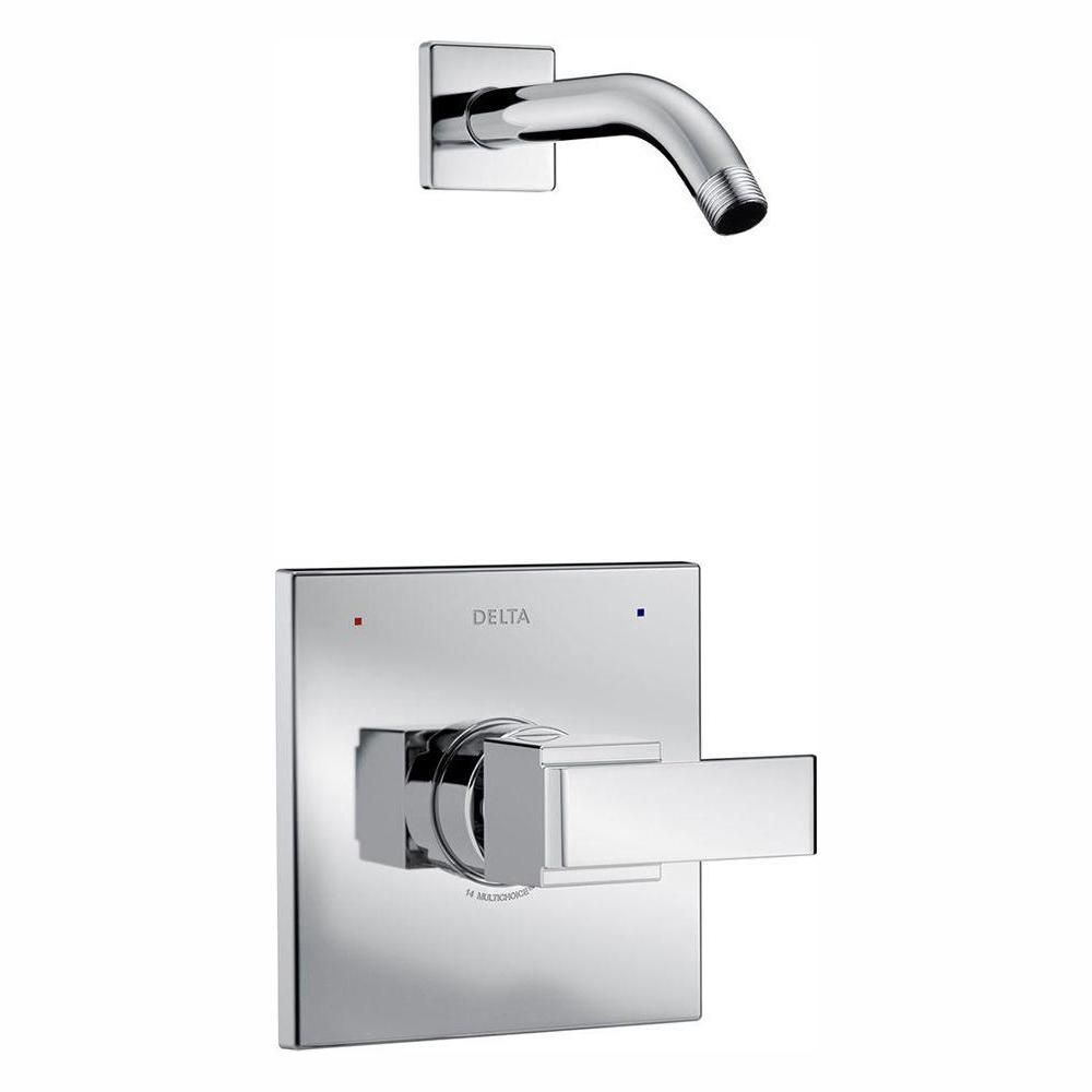 Delta Ara 1 Handle Wall Mount Shower Faucet Trim Kit In Chrome Valve And Showerhead Not Included T14267 Lhd The Home Depot Shower Faucet Shower Heads Shower Plumbing Delta tub and shower trim kit