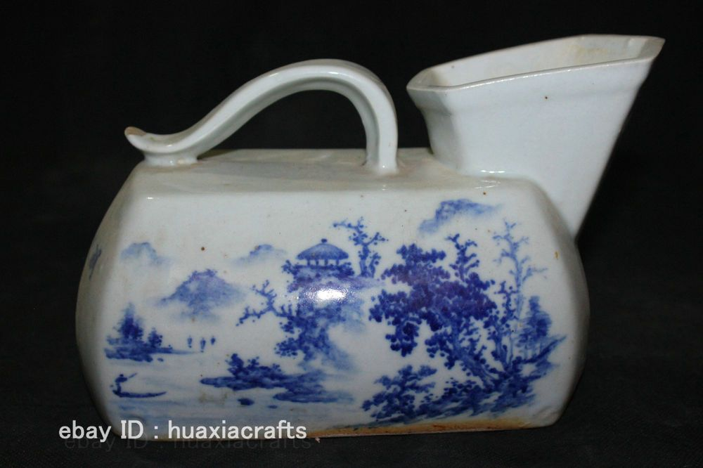 China Old Antique Blue and White porcelain Pottery Landscape Urinals ...