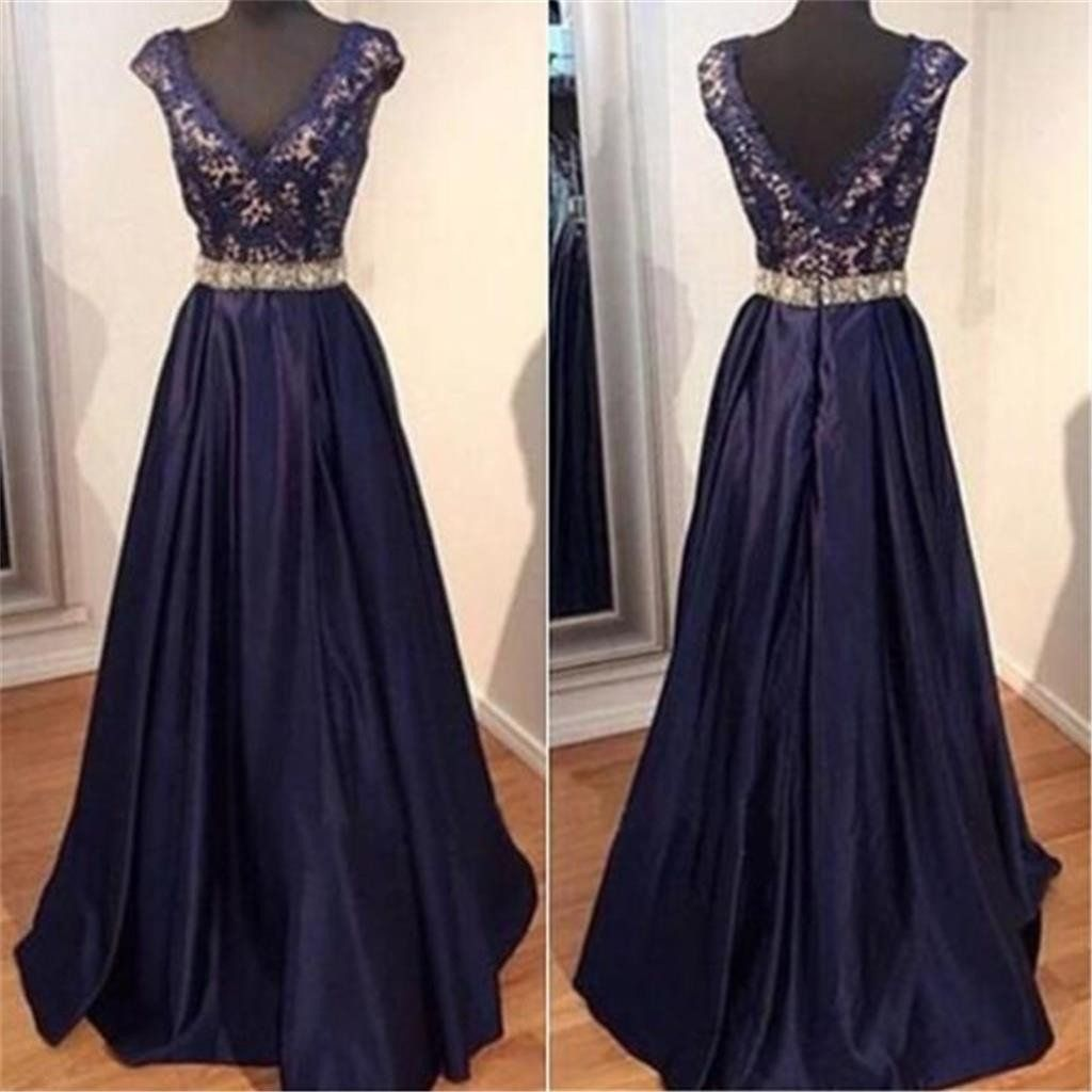 Long blue vneck aline elegant lace evening party formal cocktail